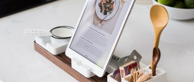 Tablet with cooking newsletter